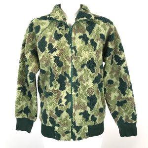 gap kids camouflage teddy fleece jacket